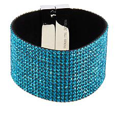 Stately Steel Crystal Wide-Cuff Bracelet