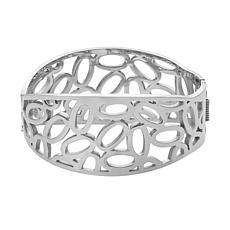 Stately Steel Cubic Zirconia Bar-Design Cutout Cuff