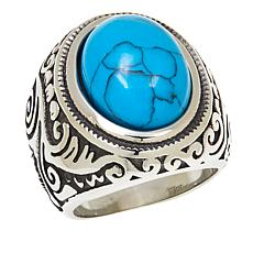 Stately Steel Domed Howlite Scroll-Design Ring