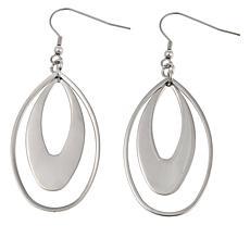 Stately Steel Elongated Double Oval Drop Earrings