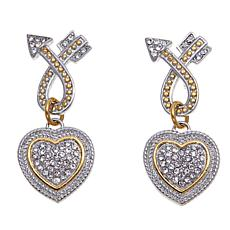 Stately Steel  Heart and Arrow 2-Tone Drop Earrings