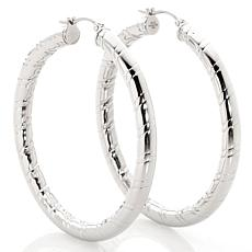 Stately Steel Hollow Tube Round Ribbed Hoop Earrings
