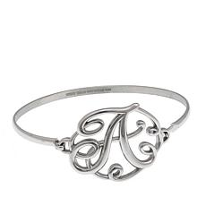 Stately Steel Initial Bangle Bracelet