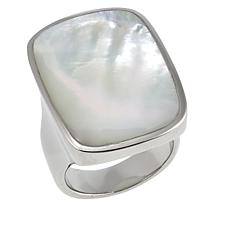 Stately Steel Large Rectangular Mother-of-Pearl Ring