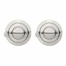Stately Steel Men's Ribbed Round Cufflinks