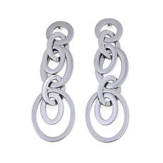 Stately Steel Multi-Oval Drop Earrings