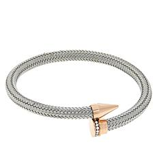 Stately Steel Pavé Crystal Nail-Design Overlap Cuff