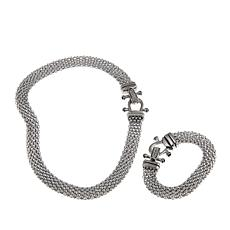 "Stately Steel Pavé Crystal Popcorn 19"" Necklace and Bracelet Set"