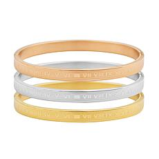 Stately Steel Roman Numerals 3-piece Bangle Set