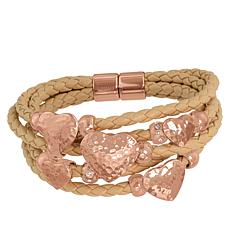 Stately Steel Rosetone Hammered Heart 5-Row Braided Leather Bracelet