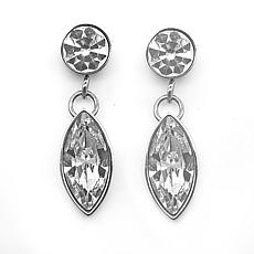 Stately Steel Round and Marquise Crystal Drop Earrings