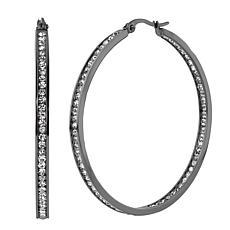 "Stately Steel Round Inside-Outside Pavé Hoop Earrings - 2"""