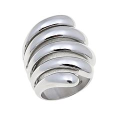 Stately Steel Spiral Wrap Ring