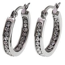 "Stately Steel Stainless Steel Inside/Outside 3/4"" Crystal Hoops"