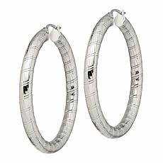 Stately Steel Textured Hoop Earrings - 50mm