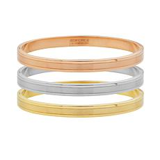 Stately Steel Tri-Color 3-piece Bangle Set