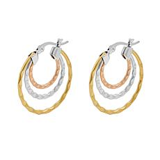 Stately Steel Tri-Color Round Wave Hoop Earrings
