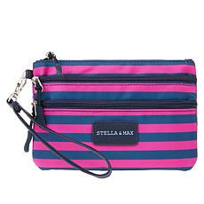 Stella & Max Jewelry Storage Travel Wristlet - Pink/Indigo Stripe