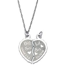 "Sterling Big/Lil Sis ""Break-able"" Heart Pendant"
