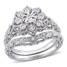Sterling Silver 0.10ctw Diamond Vintage-Style Bridal Ring 2-piece Set