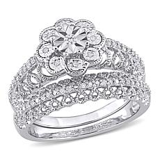 Sterling Silver 0.16ctw Diamond Floral Bridal Ring 2-piece Set