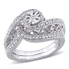 Sterling Silver 0.20ctw Diamond Swirl Bridal Ring 2-piece Set