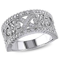 Sterling Silver 0.24ctw Diamond Filigree Ring