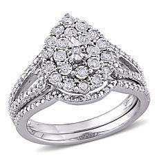 Sterling Silver 0.25ctw Diamond Teardrop Bridal Ring 2-piece Set