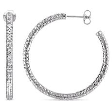 Sterling Silver 0.26ctw Diamond Pavé Hoop Earrings
