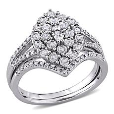 Sterling Silver 0.27ctw Diamond Cluster Ring 2-piece Set
