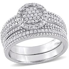 Sterling Silver 0.33ctw Diamond Cluster Bridal Ring 2-piece Set