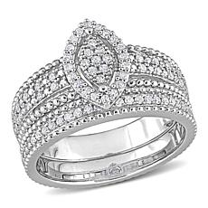 Sterling Silver 0.33ctw Diamond Marquise Cluster Bridal Ring 2pc Set