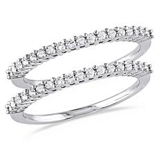 Sterling Silver 0.36ctw Diamond Pavé Anniversary Ring 2-piece Set