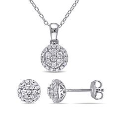 Sterling Silver 0.51ctw Diamond Halo Cluster Earrings and Pendant Set