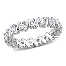 Sterling Silver 1.02ctw Moissanite Wave Eternity Band Ring