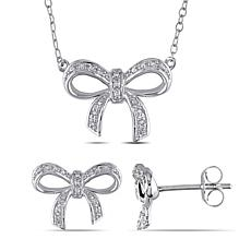 Sterling Silver .10ct Diamond Bow Necklace and Stud Earrings Set
