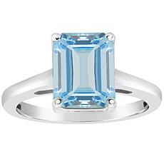 Sterling Silver 10x8mm Emerald-Cut Gemstone Ring