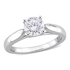 Sterling Silver 1.25ctw Created Moissanite Solitaire Engagement Ring