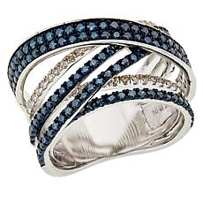 Sterling Silver 1.52ctw Blue and White Diamond Crisscross Ring