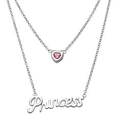 "Sterling Silver 2-Tiered Birthstone Crystal Heart ""Prin"
