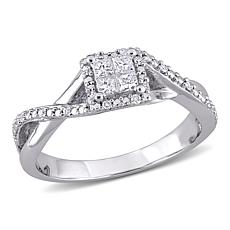 Sterling Silver .27ctw Diamond Princess and Round Halo Engagement Ring