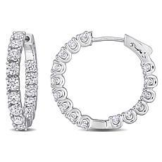 Sterling Silver 3ctw Created Moissanite Inside-Outside Hoop Earrings