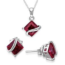 Sterling Silver Created Ruby Stud Earrings, Pendant and Chain Set