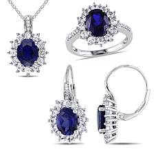 Sterling Silver Created Sapphire and Diamond Jewelry Set