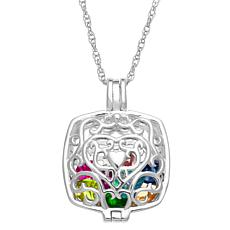 Sterling Silver Cushion Filigree Locket Birthstone Pendant with Chain