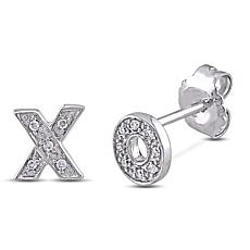 Sterling Silver Diamond Accent Hugs and Kisses Stud Earrings