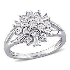 Sterling Silver Diamond-Accented Spoke Design Split Shank Ring