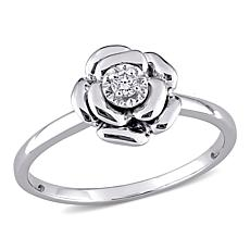 Sterling Silver Diamond Flower Ring
