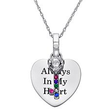 Sterling Silver Engraved Heart With Birthstone Key Necklace