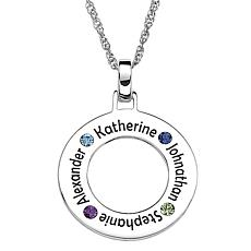 Sterling Silver Family Birthstone Pendant
